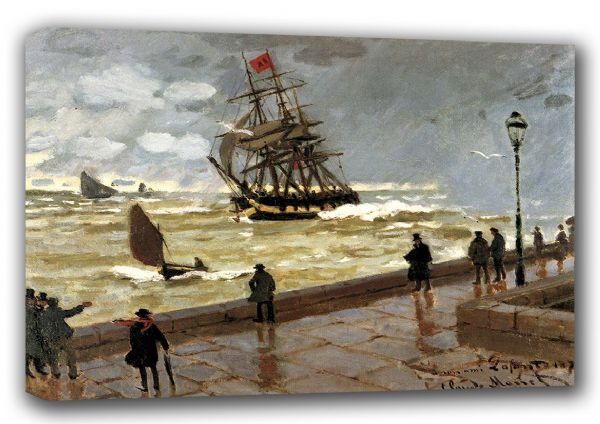 Monet, Claude: The Jetty of Le Havre in Bad Weather. Fine Art Landscape Canvas. Sizes: A3/A2/A1 (00759)